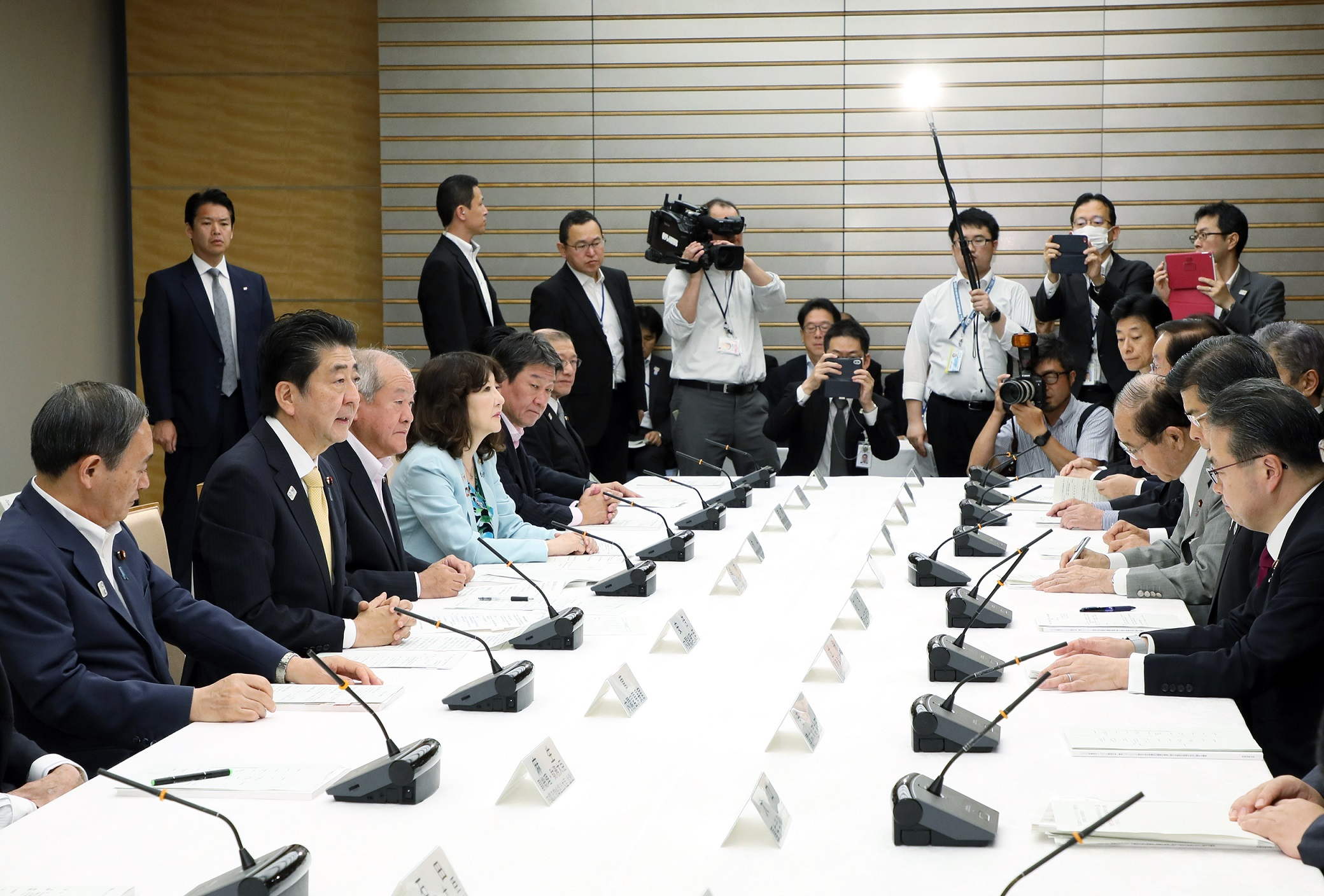 Photograph of the Prime Minister making a statement (2)