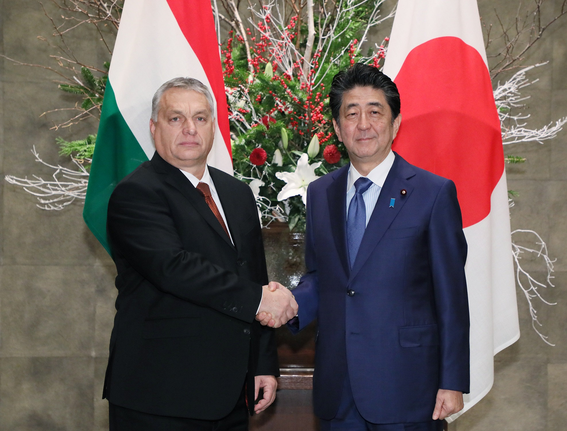Photograph of the Prime Minister greeting the Prime Minister of Hungary (1)