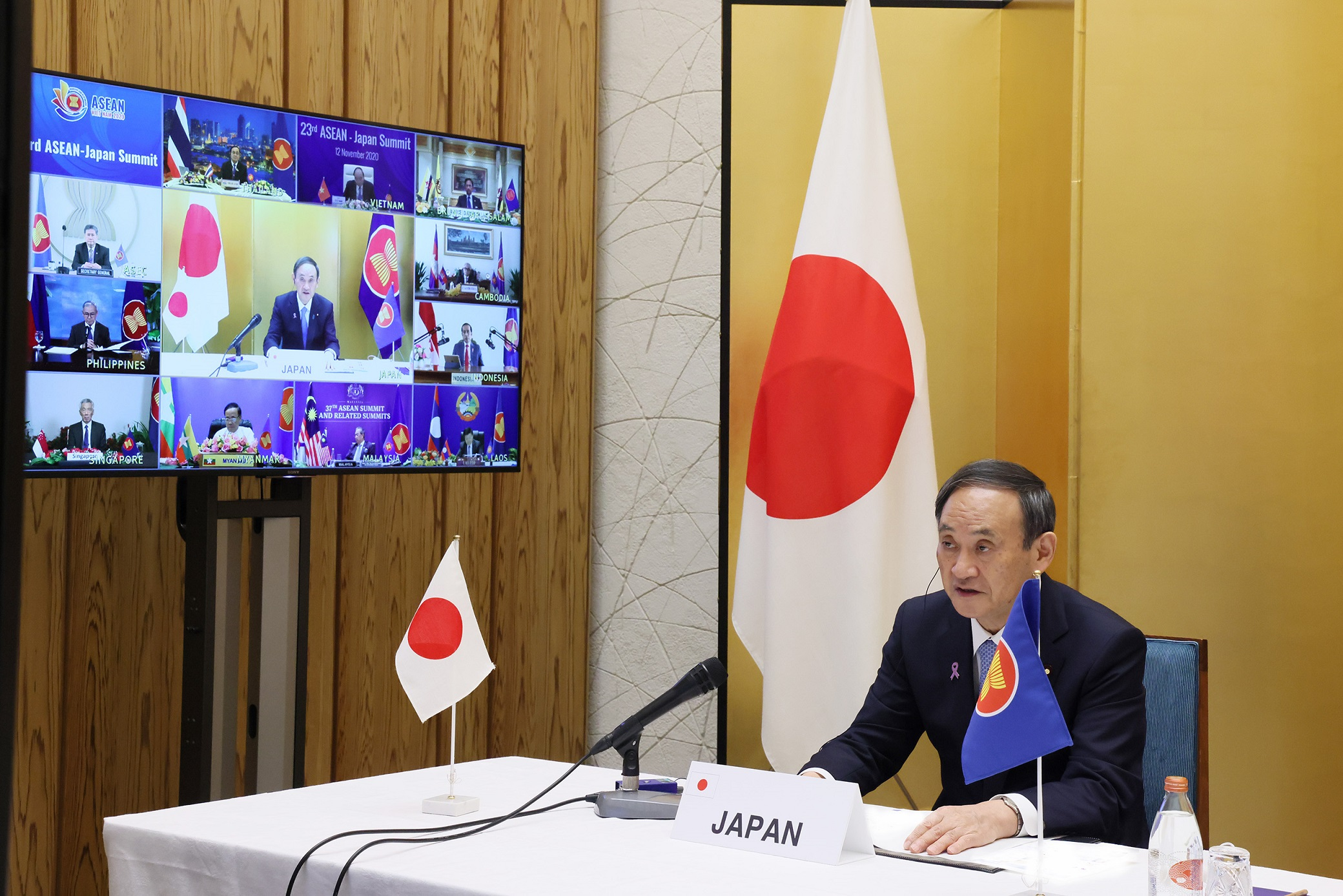 Photograph of the Prime Minister attending the video conference (1)