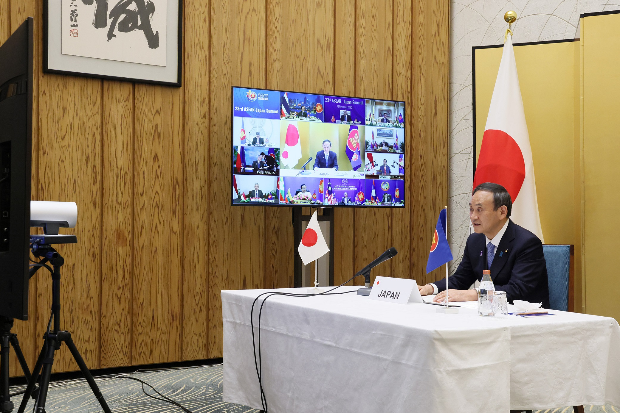 Photograph of the Prime Minister attending the video conference (2)