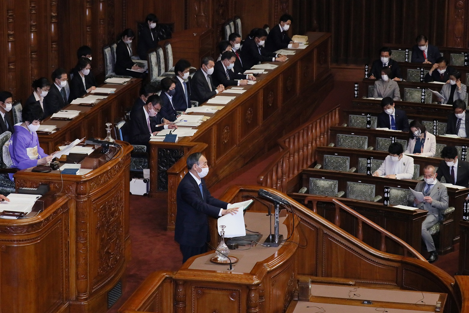 Photograph of the Prime Minister delivering a policy speech during the plenary session of the House of Councillors (7)