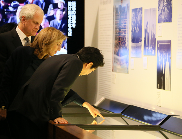 Photograph of the Prime Minister touring the exhibit