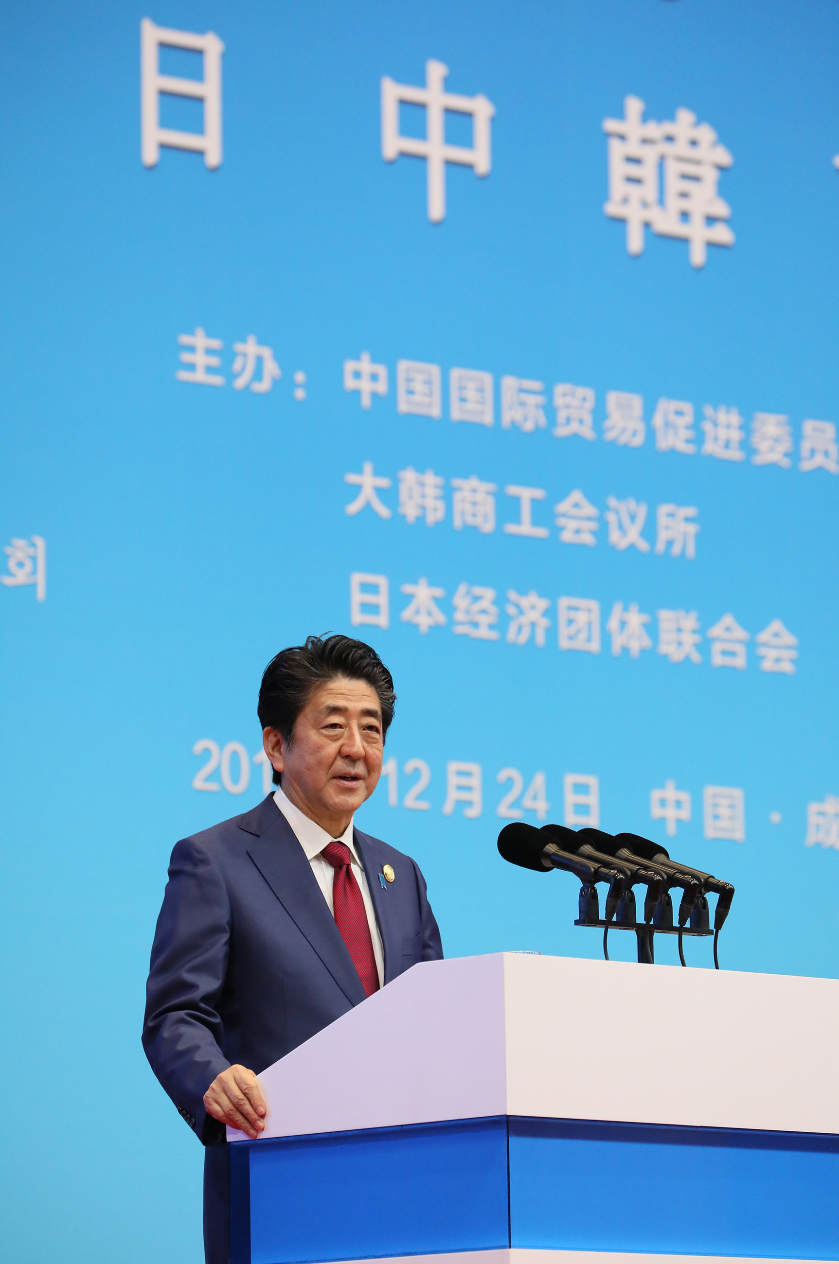 Photograph of the Prime Minister delivering a speech at the Japan-China-ROK Business Summit (1)
