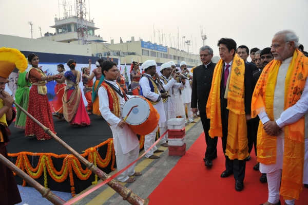 Photograph of the Prime Minister arriving at Varanasi