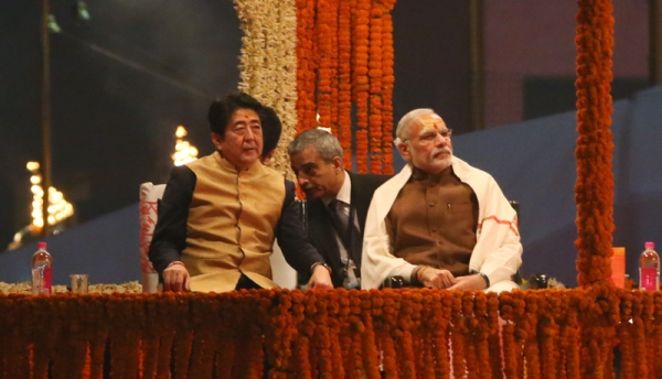 Photograph of the Prime Minister observing religious ceremonies at a ghat near the Ganges (2)