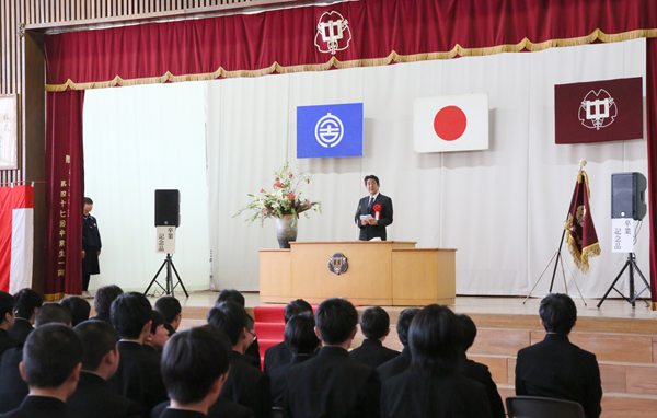 Photograph of the Prime Minister delivering an address at the graduation ceremony