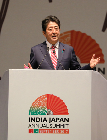 Photograph of the Prime Minister delivering a speech at the India Japan Business Plenary