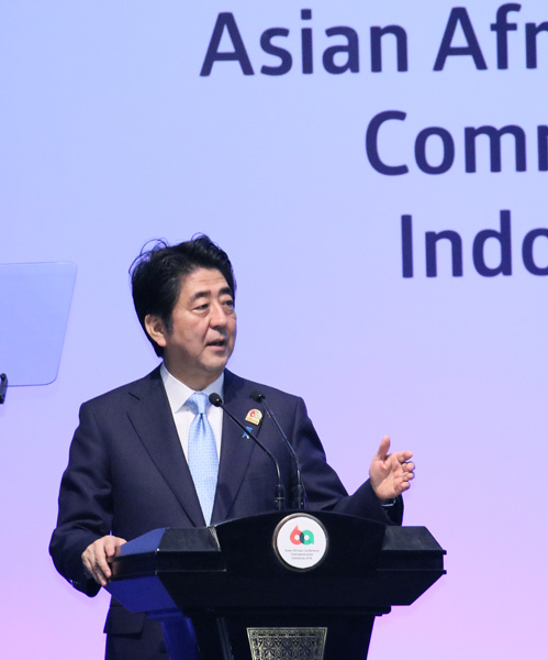 Photograph of the Prime Minister giving a speech at the Asian African Conference (1)