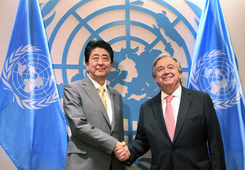 Photograph of the Prime Minister meeting with the Secretary-General of the United Nations (1) (pool photo)