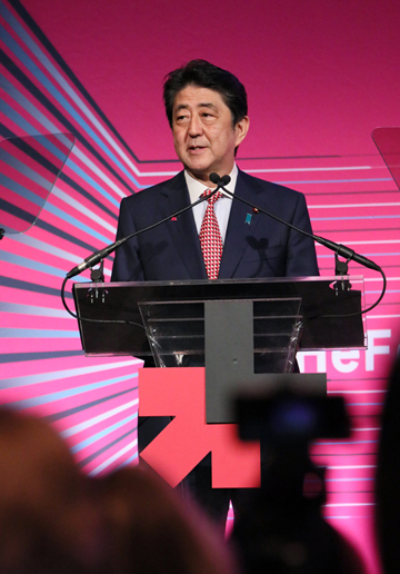 Photograph of the Prime Minister delivering a speech at the HeForShe IMPACT 10x10x10 Parity Report Launch Event (1)