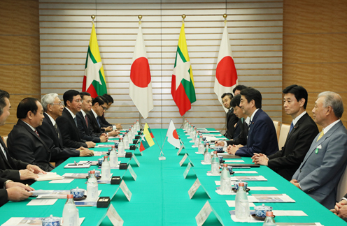 Photograph of the Japan-Myanmar Summit Meeting
