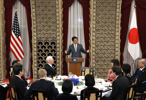 Photograph of the Prime Minister delivering an address at the dinner banquet (1)