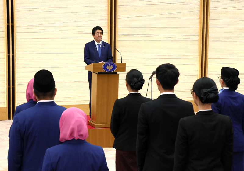 Photograph of the Prime Minister delivering an address