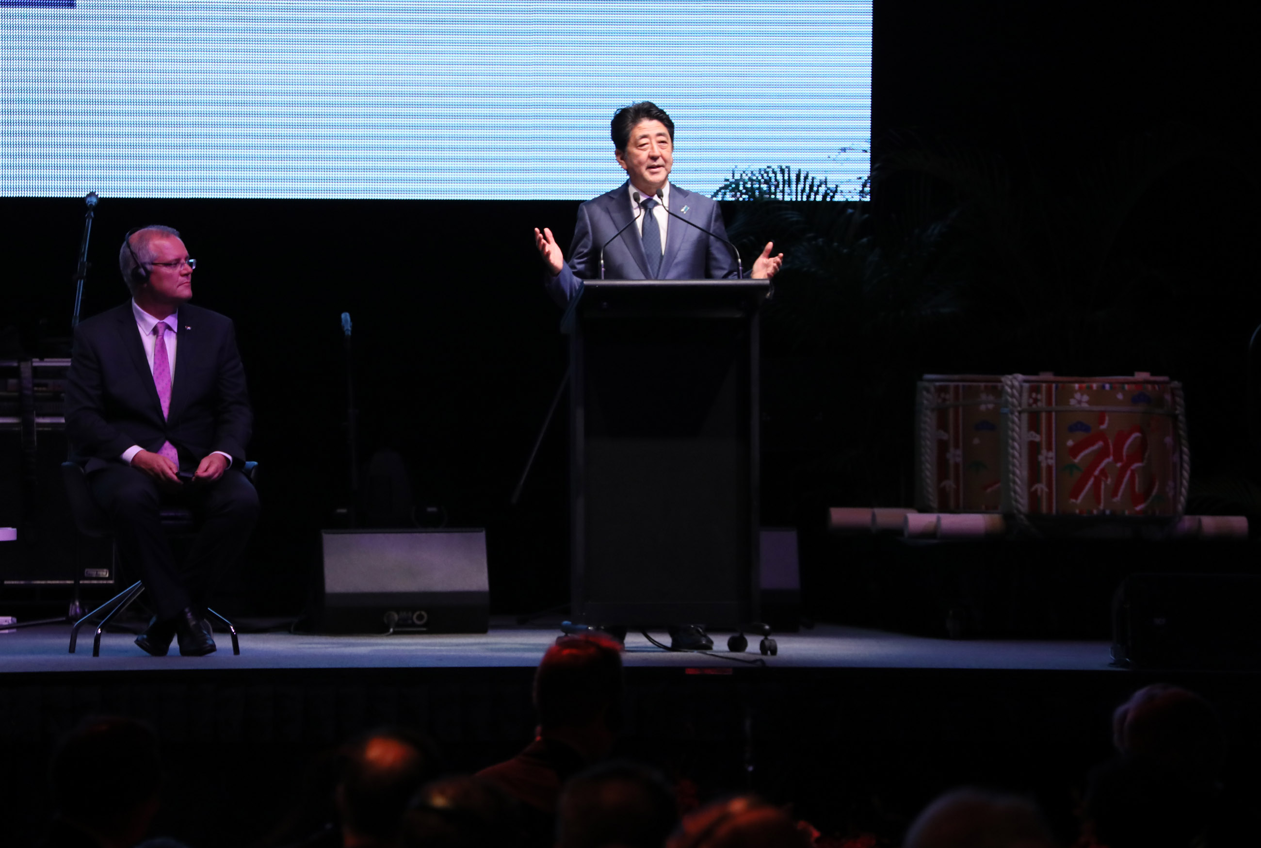 Photograph of the Prime Minister delivering an address at a commemorative ceremony for the Ichthys LNG Project