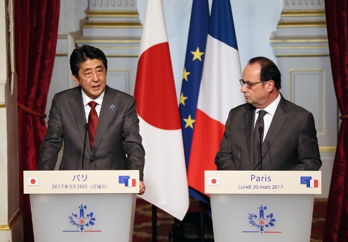 Photograph of the Japan-France joint press announcement (2)
