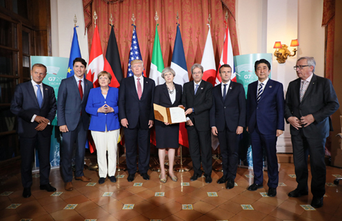 Photograph of the leaders upon the release of the G7 Taormina Statement on the Fight Against Terrorism and Violent Extremism