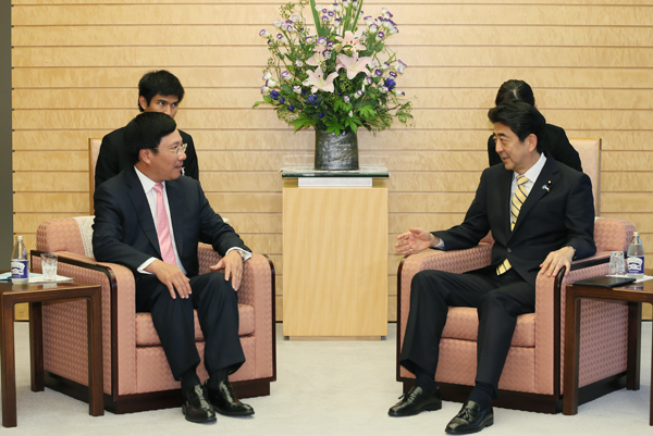 Photograph of the Prime Minister receiving the courtesy call