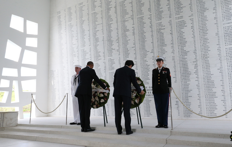 Photograph of the Prime Minister at the USS Arizona Memorial